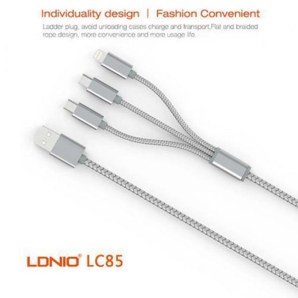 کابل تبدیل USB به microUSB و لایتنینگ الدینیو مدل LC85 3 In 1