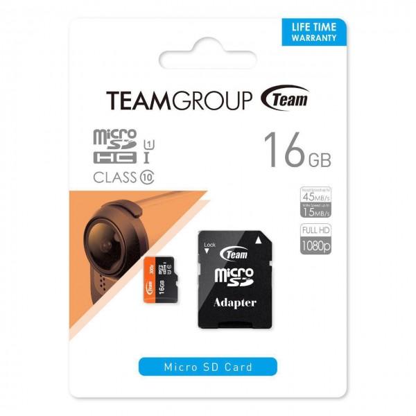 کارت حافظه میکرو اس دی ۱۶ گیگابایت تیم گروپ Team Group MicroSDHC UHS-I