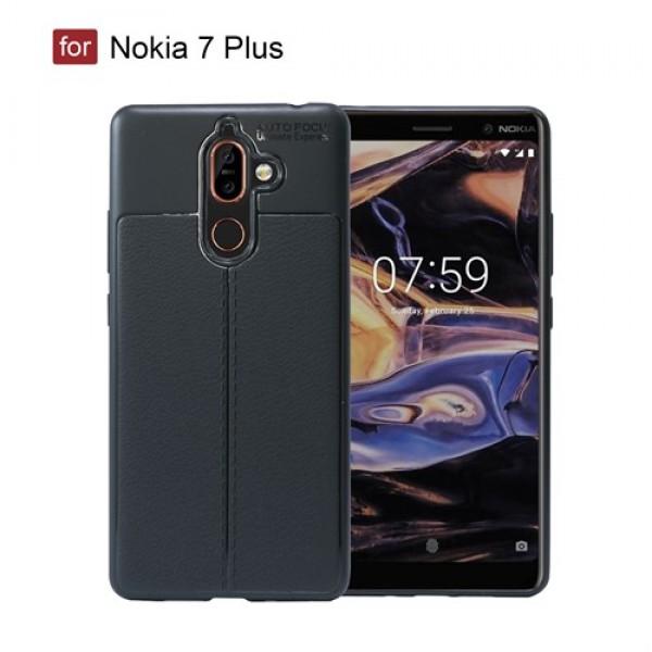 قاب محافظ ژله ای طرح چرم Nokia 7 Plus مدل Auto Focus
