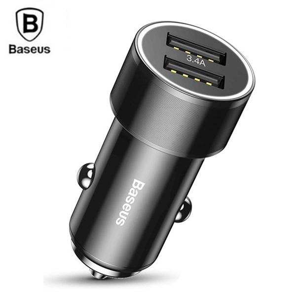 شارژر فندکی 2 پورت بیسوس Baseus Small Screw Dual-USB Car Charger
