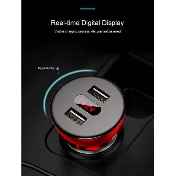 شارژر فندکی 2 پورت فست شارژ 4.8A بیسوس Baseus shake Head Digital Display CCALL-YT01