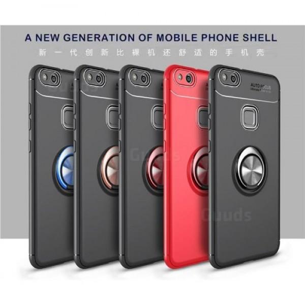 قاب محافظ ژله ای طرح چرم انگشتی Becation Auto Focus Magnetic Ring Case Huawei P10 Lite