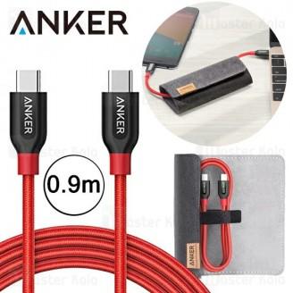 کابل دو سر تایپ سی انکر Anker A8187 Power Line Plus 0.9m همراه کیف
