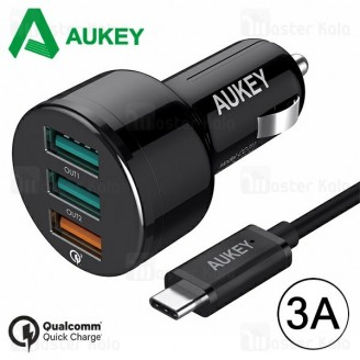 شارژر فندکی فست شارژ آکی Aukey CC-T11 QC 3.0 سه پورت همراه با کابل