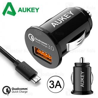 شارژر فندکی فست شارژ آکی Aukey CC-T13 QC 3.0 توان 3 آمپر همراه با کابل