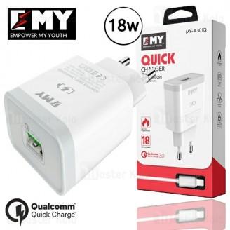 شارژر دیواری فست شارژ Qualcomm3.0 امی EMY My-A301Q همراه با کابل