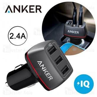 شارژر فندکی 3 پورت انکر Anker A2231 PowerDrive Plus 2 توان 2.4 آمپر