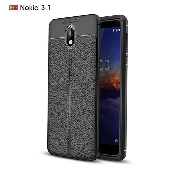 قاب محافظ ژله ای طرح چرم Nokia 3.1 2018 مدل Auto Focus