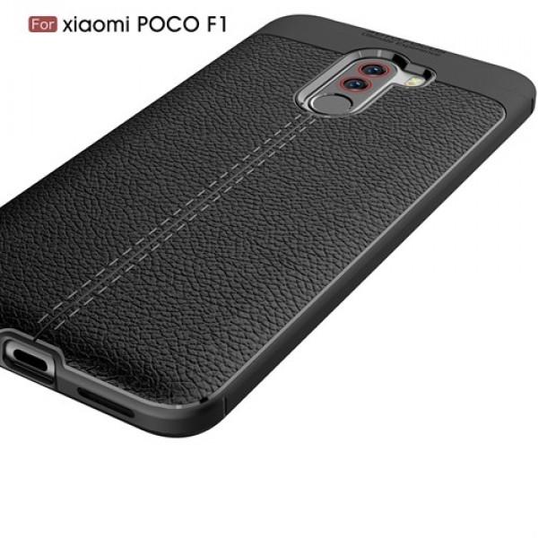 قاب محافظ ژله ای طرح چرم Xiaomi Pocophone F1 / Poco F1 مدل Auto Focus