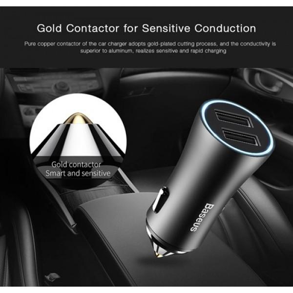 شارژر فندکی 2 پورت بیسوس Baseus Golden Contactor Dual U Intelligent