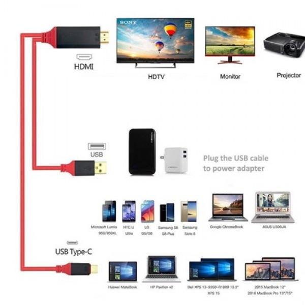 کابل HDMI تایپ سی اتصال تلویزیون و نمایشگر(کابل Type C به HDTV) انتقال تصویر و شارژ ET-WS8C