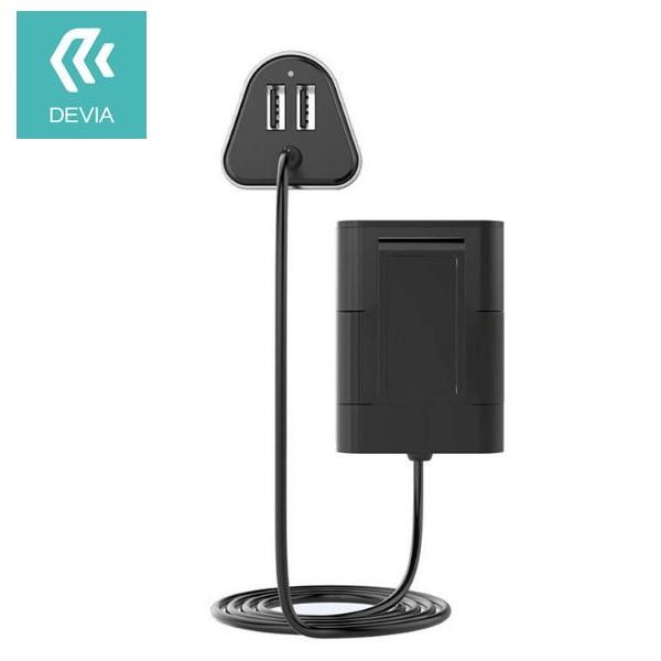 شارژر فندکی و هاب 4 پورت Devia Ibox Carhub 4 USB Port مناسب اتومبیل