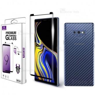 محافظ شیشه ای تمام صفحه و خمیده مارک Kulicci تمام چسب Samsung Galaxy Note 9 با محافظ پشت