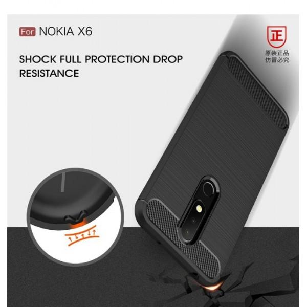 قاب محافظ ژله ای نوکیا Nokia 6.1 Plus / X6 Fiber Carbon Rugged Armor