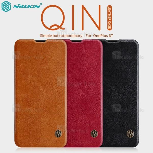 کیف چرمی نیلکین وان پلاس OnePlus 6T Nillkin Qin Leather Case