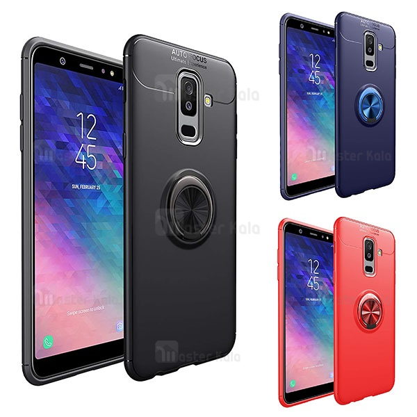 قاب ژله ای طرح چرم انگشتی Samsung A6 Plus 2018 Becation A.F Magnetic Ring
