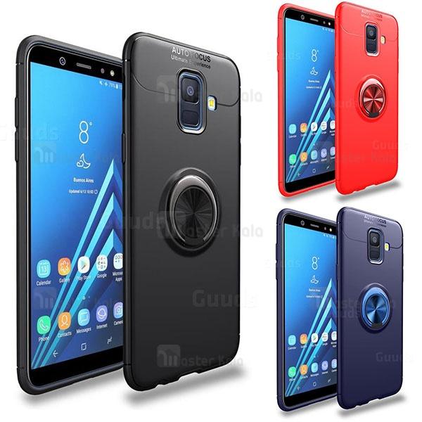 قاب ژله ای طرح چرم انگشتی Samsung A6 2018 Becation A.F Magnetic Ring