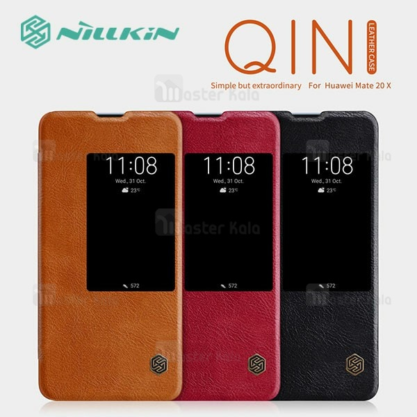 کیف چرمی هوشمند نیلکین هواوی Huawei Mate 20 X Nillkin Qin Leather Case