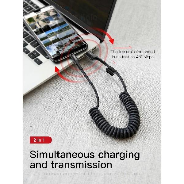 کابل Type C بیسوس Baseus Fish Eye Spring طراحی تلفنی با توان 2 آمپر