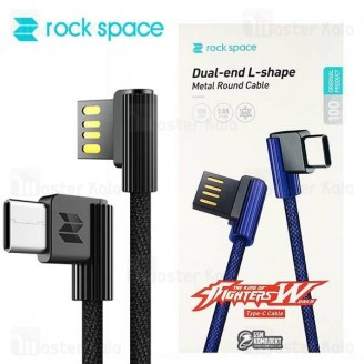 کابل شارژ Type C راک Rock Spase Dual-end L-Shape RCB0586 با توان 2 آمپر