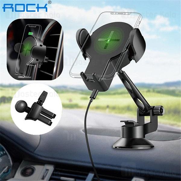 پایه نگهدارنده و شارژر وایرلس راک Rock W2 Pro Car Wireless Charging Stand