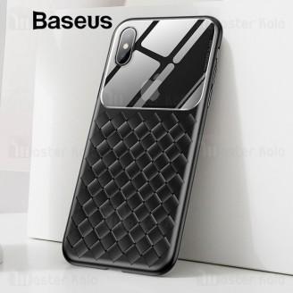 قاب طرح چرم و حصیری Apple iPhone XS Max Baseus Glass And Weaving WIAPIPH65-BL01