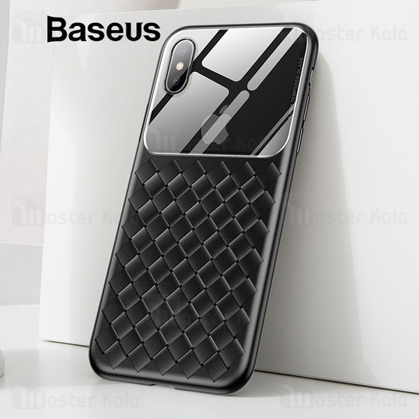 قاب طرح چرم و حصیری Apple iPhone XS Max Baseus Glass And Weaving WIAPIPH65-BL01