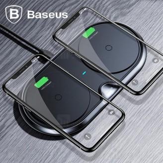 شارژر وایرلس 20 وات بیسوس Baseus Dual Plastic Wireless WXSJK-01 شارژ همزمان دو دستگاه