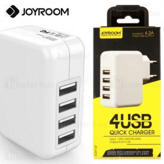 آداپتور شارژر 4 پورت جویروم Joyroom JR-L402 Charger با توان 4.2 آمپر