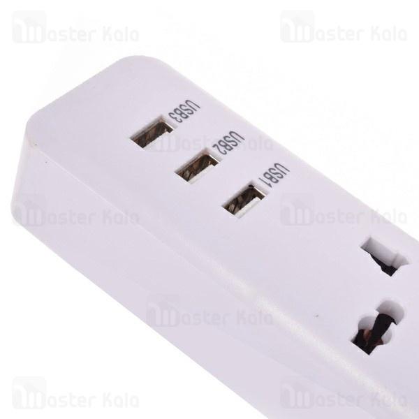 سه راهی برق و شارژر رومن Roman CR-A USB Charger دارای 3 پورت USB
