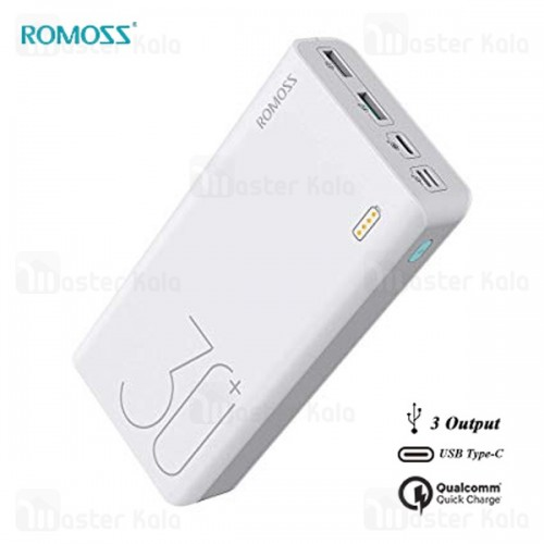 پاوربانک 30000 فست شارژ روموس Romoss Sense 8 Plus PHP30 Pro QC 3.0 سه پورت