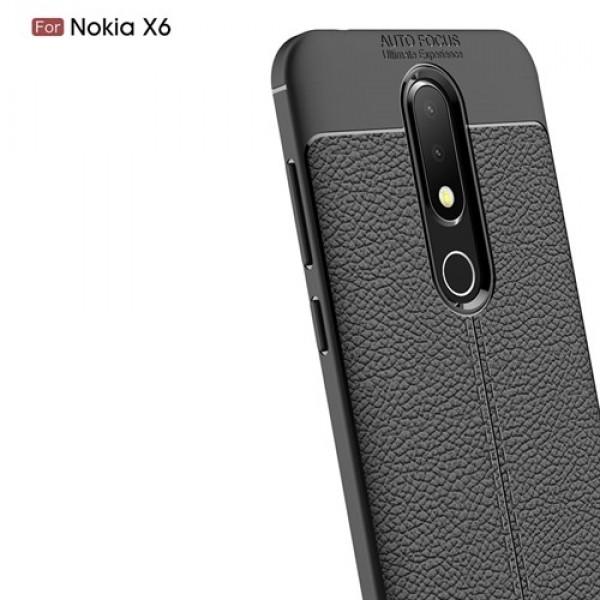 قاب محافظ ژله ای طرح چرم Nokia 6.1 Plus / X6 مدل Auto Focus