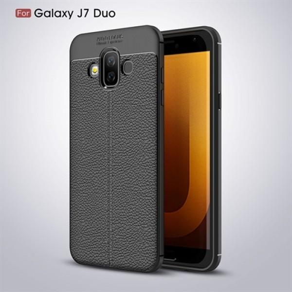 قاب محافظ ژله ای طرح چرم Samsung Galaxy J7 Duo مدل Auto Focus