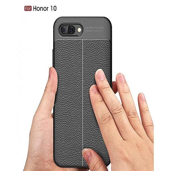 قاب محافظ ژله ای طرح چرم Huawei Honor 10 مدل Auto Focus