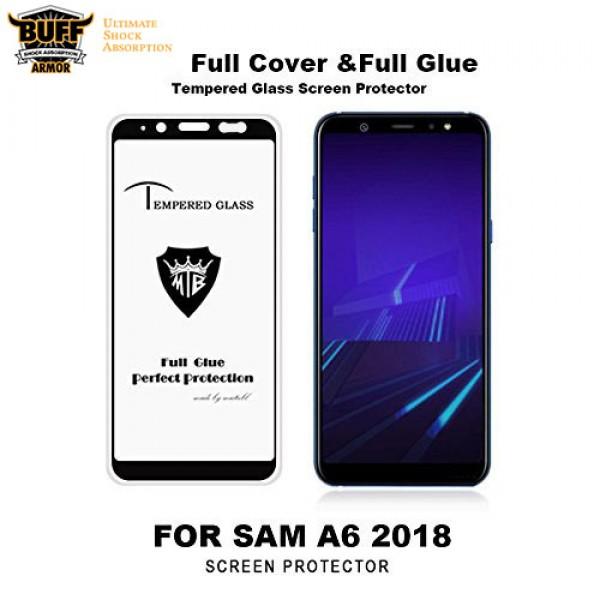 محافظ شیشه ای تمام صفحه و تمام چسب مارک بوف Samsung Galaxy A6 2018