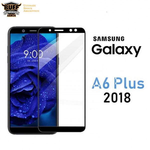 محافظ شیشه ای تمام صفحه و تمام چسب مارک بوف Samsung Galaxy A6 Plus 2018