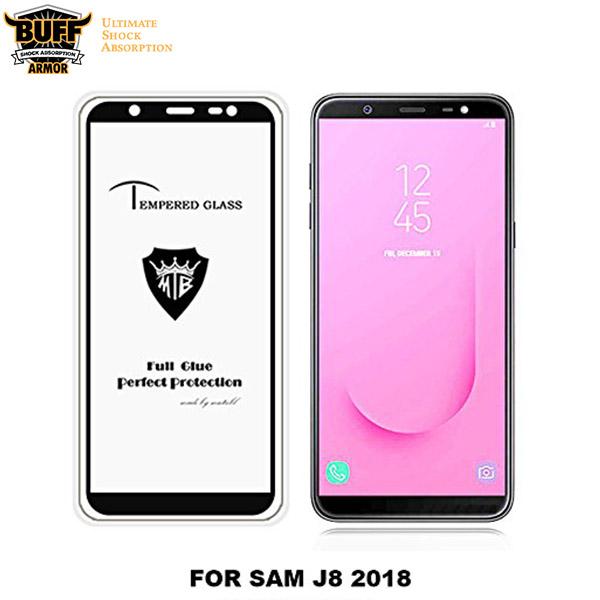 محافظ شیشه ای تمام صفحه و تمام چسب مارک بوف Samsung Galaxy J8 2018 / J810