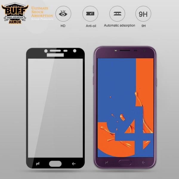 محافظ شیشه ای تمام صفحه و تمام چسب مارک بوف Samsung Galaxy J4 2018 / J400