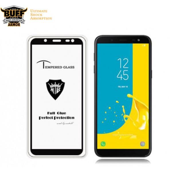 محافظ شیشه ای تمام صفحه و تمام چسب مارک بوف Samsung Galaxy J6 2018 / J600