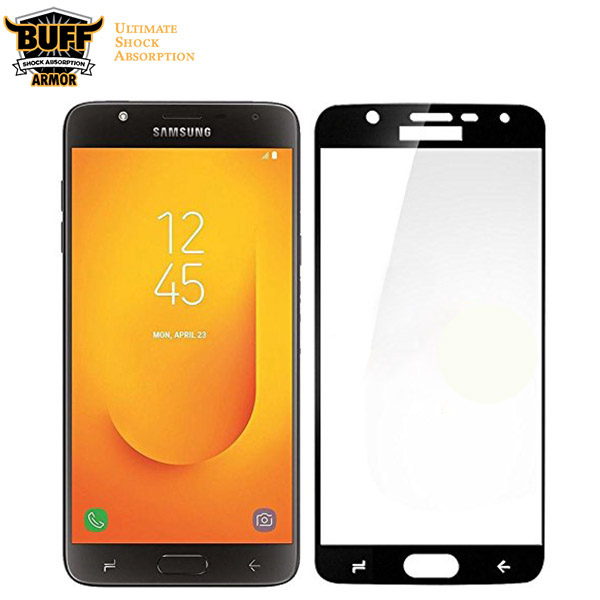 محافظ شیشه ای تمام صفحه و تمام چسب مارک بوف Samsung Galaxy J7 Duo