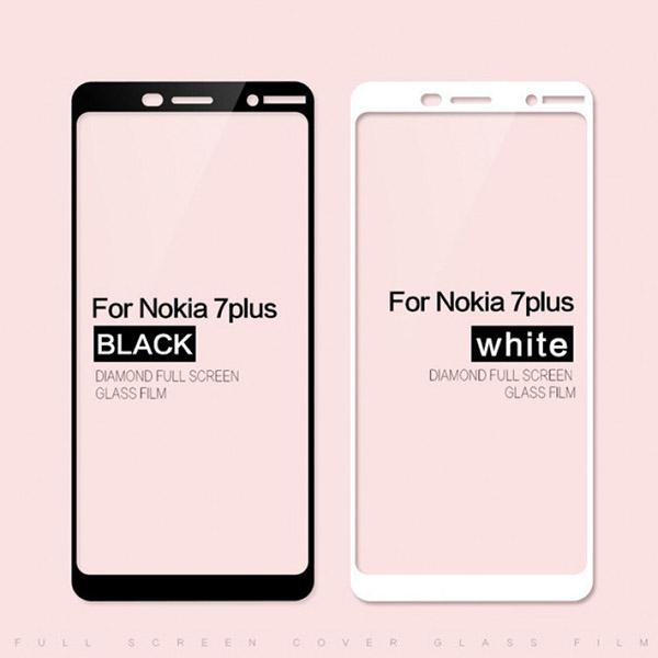 محافظ صفحه نمایش شیشه ای تمام صفحه دور چسب برای Nokia 7 Plus