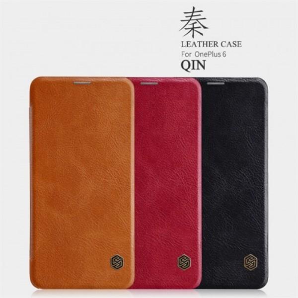 کیف چرمی نیلکین وان پلاس OnePlus 6 / A6000 Nillkin Qin Leather Case