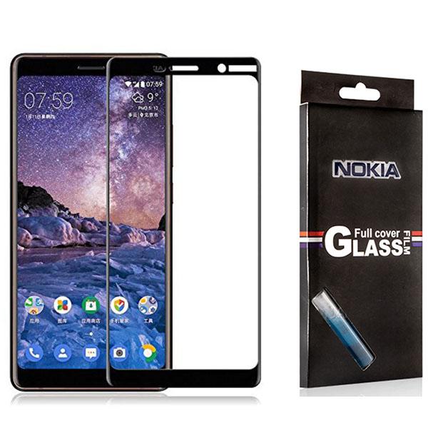 محافظ صفحه شیشه ای تمام صفحه تمام چسب مارک TT مناسب Nokia 7 Plus