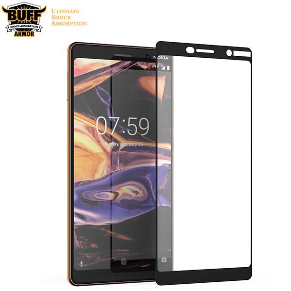 محافظ صفحه شیشه ای تمام صفحه دور چسب مارک Buff برای Nokia 7 Plus