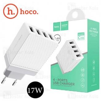 شارژر دیواری چهار پورت 3.4 آمپر هوکو Hoco C23B Dual USB Charger