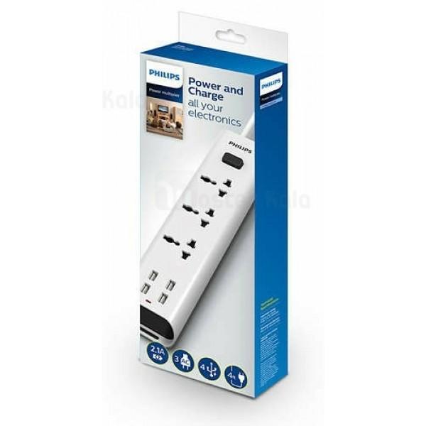 سه راهی برق و شارژ فیلیپس Philips SPN6237WD Power and Charge دارای 4 پورت USB