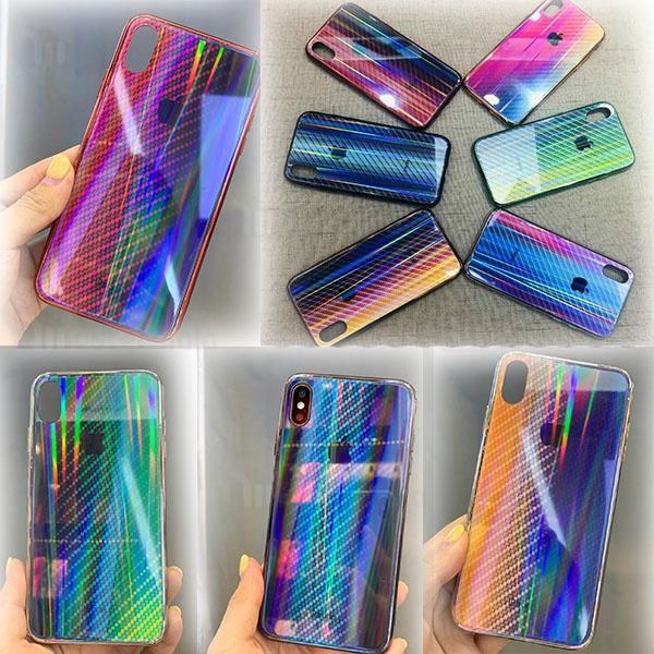 قاب لیزری رنگین کمانی آیفون Apple iPhone X / XS Aurora Laser Fiber Case