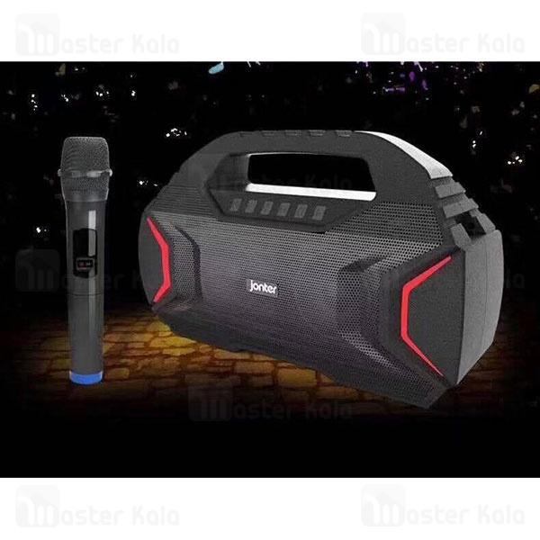 اسپیکر بلوتوث جانتر Jonter M100 Karaoke IPX5 رم و فلش خور همراه با میکروفون