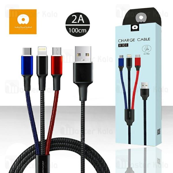 کابل سه سر WUW X101 3 in 1 Charge Cable توان 2 آمپر