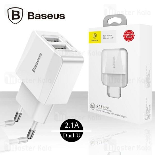 شارژر دیواری بیسوس Baseus Mini Dual-U Charger CCALL-MN02 توان 2.1 آمپر